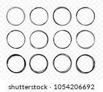 set hand drawn circle line... | Shutterstock .eps vector #1054206692