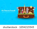 it s time to travel.trip to... | Shutterstock .eps vector #1054215545