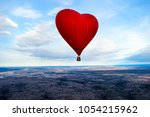 colorful hot air balloon flying ... | Shutterstock . vector #1054215962