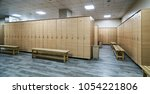 wooden lockers with a wood... | Shutterstock . vector #1054221806