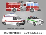 set of special rescue vehicles. ...   Shutterstock .eps vector #1054221872