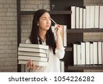 women student girl holding book ... | Shutterstock . vector #1054226282