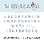 mermaid scale font. for... | Shutterstock .eps vector #1054243205