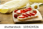 dessert sandwiches with strawberry  and soft cheese - stock photo