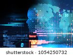 silhouette of virtual human on... | Shutterstock . vector #1054250732