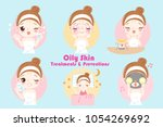 woman with oily skin treatment... | Shutterstock .eps vector #1054269692
