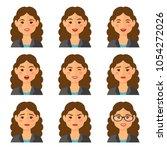 business woman flat avatars set ...   Shutterstock .eps vector #1054272026