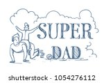 super dad doodle poster with...   Shutterstock .eps vector #1054276112