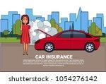 woman driver of broken car... | Shutterstock .eps vector #1054276142