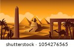 sphinx and pyramid famous...   Shutterstock .eps vector #1054276565