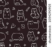 seamless pattern with funny... | Shutterstock .eps vector #1054290905