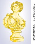 greek goddess. marble bust of... | Shutterstock .eps vector #1054302512
