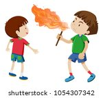 boys playing with fire... | Shutterstock .eps vector #1054307342