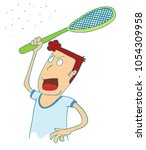 man use electrical racket to... | Shutterstock .eps vector #1054309958