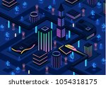 isometric futuristic night city ... | Shutterstock .eps vector #1054318175