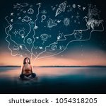 young woman looking up to the...   Shutterstock . vector #1054318205