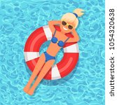 pretty woman swims  tanning on... | Shutterstock .eps vector #1054320638