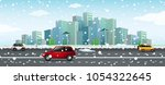 city scene with snow falling on ...   Shutterstock .eps vector #1054322645