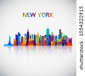new york skyline silhouette in... | Shutterstock .eps vector #1054322915