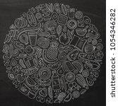 set of vector cartoon doodle... | Shutterstock .eps vector #1054346282