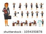 smart business woman character... | Shutterstock . vector #1054350878
