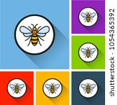 illustration of bee icons with... | Shutterstock .eps vector #1054365392
