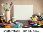 artist's workshop. canvas ... | Shutterstock . vector #1054375862