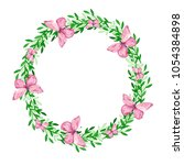watercolor wreath on white... | Shutterstock . vector #1054384898
