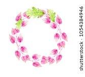 watercolor wreath on white... | Shutterstock . vector #1054384946