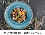 soba noodles with wild... | Shutterstock . vector #1054387478