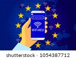 wifi4eu   free wi fi hotspots... | Shutterstock .eps vector #1054387712