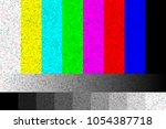 tv no signal. rgb static screen ... | Shutterstock .eps vector #1054387718