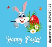 happy easter greeting card with ...   Shutterstock .eps vector #1054397426