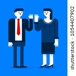two office workers  man and... | Shutterstock .eps vector #1054407902