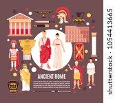 ancient rome citizens culture... | Shutterstock .eps vector #1054413665