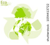 tree with globe. triangular... | Shutterstock .eps vector #1054413722