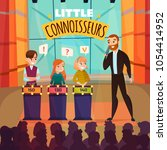 kids quiz tv show with little... | Shutterstock .eps vector #1054414952