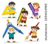 back to school. happy school... | Shutterstock .eps vector #1054414985