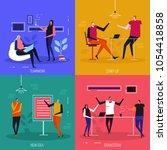 coworking flat design concept ... | Shutterstock .eps vector #1054418858