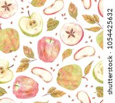 seamless pattern. apples ... | Shutterstock . vector #1054425632