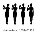 woman taking photo silhouettes | Shutterstock .eps vector #1054431155