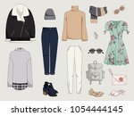 women's clothing collection.... | Shutterstock .eps vector #1054444145