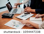 start up partners are working... | Shutterstock . vector #1054447238