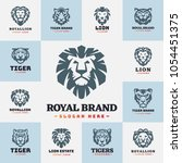 tiger and lions face logo badge ... | Shutterstock .eps vector #1054451375