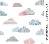 seamless pattern with doodle... | Shutterstock .eps vector #1054456775