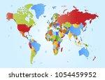 color world map vector | Shutterstock .eps vector #1054459952