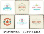 happy birthday greeting cards... | Shutterstock .eps vector #1054461365