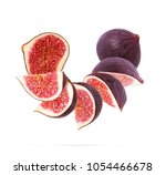 figs cut into pieces on a white ... | Shutterstock . vector #1054466678