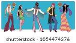 group of five wearing hippie... | Shutterstock .eps vector #1054474376