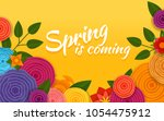 spring is coming. vector poster.... | Shutterstock .eps vector #1054475912